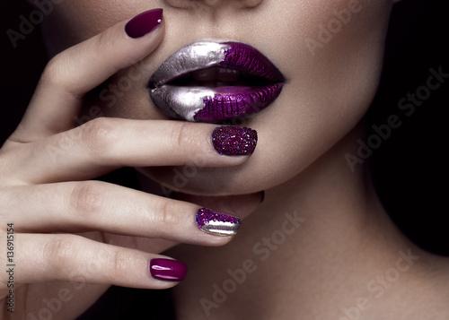 Quotbeautiful Girl With Art Make Up Dark Glitter Lips Design