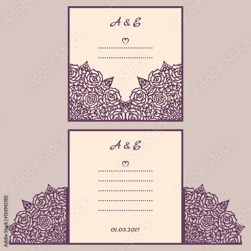 Wedding cutout invitation template Suitable for lasercutting