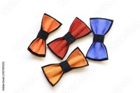 """Colored bow-ties handmade silk isolated on white ..."
