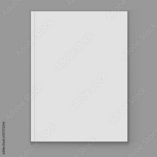 Blank white magazine cover page vector template\