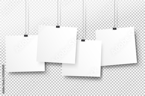 Posters on binder clips White notepad paper templates Realistic - notepad paper template