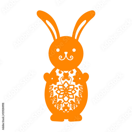 Happy Easter greeting card template in paper cutting style Laser
