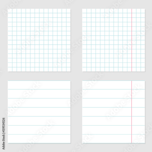 Notebook paper texture cell lined template with red pink line set - blank sheet of paper with lines