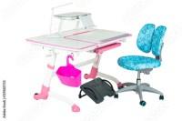 """Blue chair, pink school desk, pink basket, desk lamp and ..."