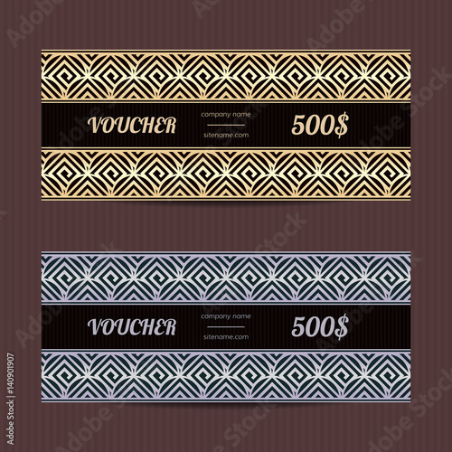 Gift voucher with greek design Vector template for coupon or