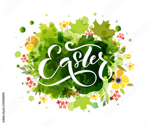 Hand drawn Easter postcard, card, invitation, poster, banner
