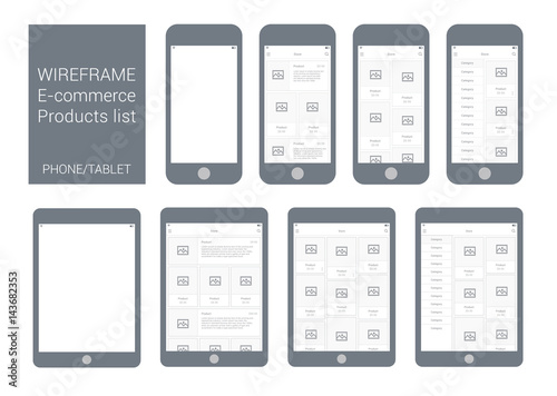 Wireframe Mobile and Tablet App UI Kit Online shop products list