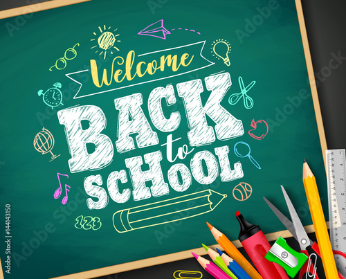 Quotwelcome Back To School Text Drawing By Colorful Chalk In