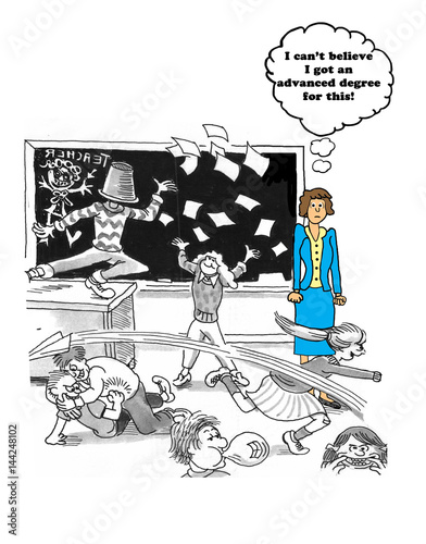 Education cartoon showing a teacher frustrated by the students poor