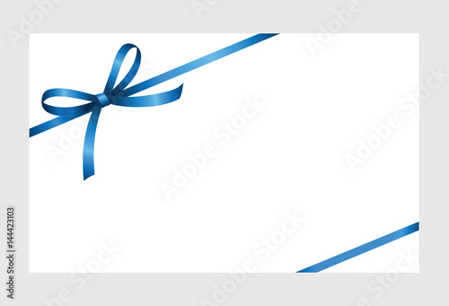 Gift certificate, Gift Card With Blue Ribbon And A Bow on white - gift voucher template