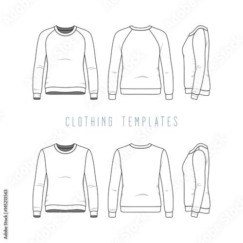 Female clothing set of basic sweatshirt and raglan sweater Fashion