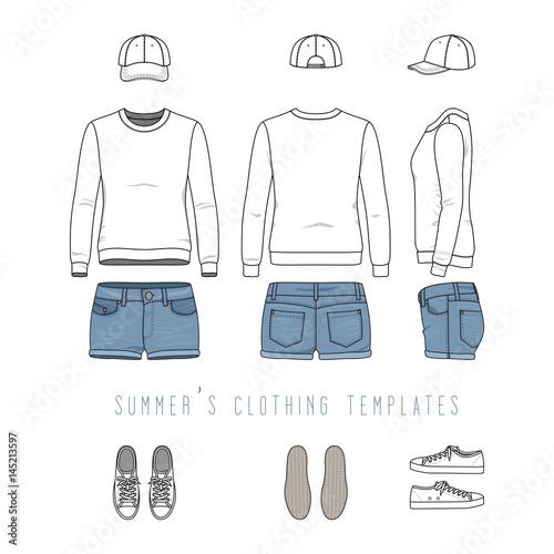 Vector illustration of female clothing set White sweatshirt, denim - blank fashion design templates