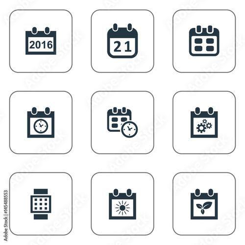 Vector Illustration Set Of Simple Time Icons Elements Summer