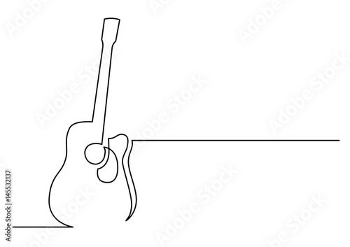continuous line drawing of acoustic guitar\ - line drawing