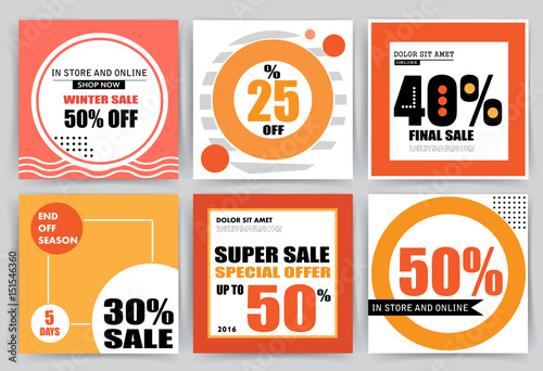 Sale banner templates, posters, email and newsletter designs Set of