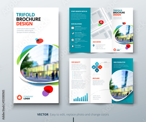 Business tri fold brochure design Teal, orange corporate business