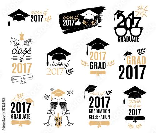 Graduation class of 2017 labels design set Badges kit for shirt - print grad cards