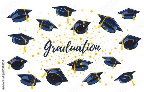 Vector illustration of many graduate caps and confetti on a white - congratulation graduation