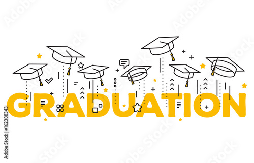 Vector illustration of word graduation with graduate caps on a white