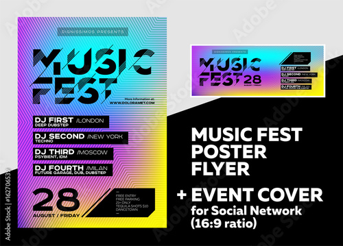 Bright DJ Poster for Summer Festival Minimal Electronic Music Cover