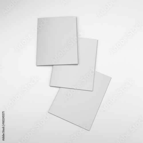 Overlapped three blank brochure template\