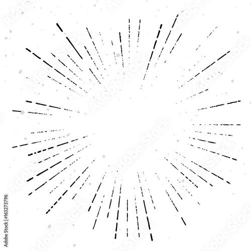True vintage sunburst ray explosion halftone overlay template Retro