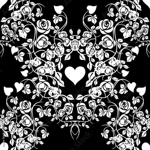 Floral love seamless pattern Black damask background wallpaper