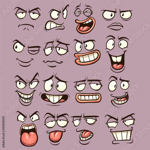 Cartoon faces with different expressions Vector clip art