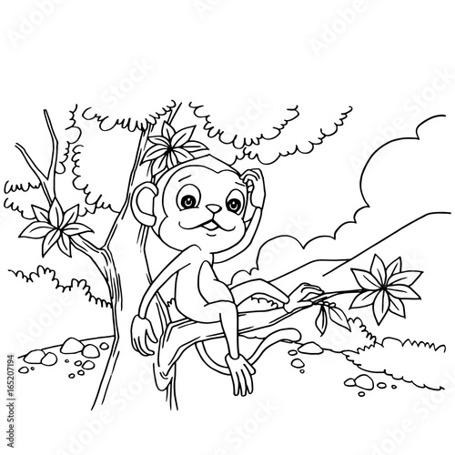 Cartoon monkey playing in the forest coloring page vector\