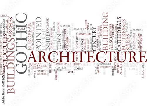 GOTHIC ARCHITECTURE Text Background Word Cloud Concept\