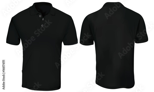 Vector illustration of blank black polo t-shirt template, front and - t shirt template