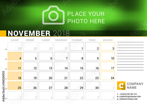 Calendar for November 2018 Vector Design Print Template with Place