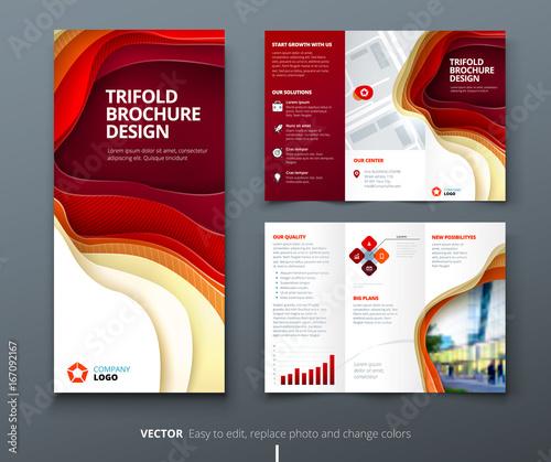 Business tri fold brochure design Blue green corporate business