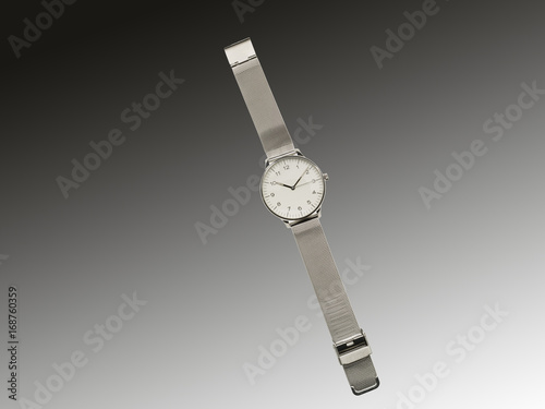 Mans unisex Stainless steel Wrist Watch on Graduated grey background