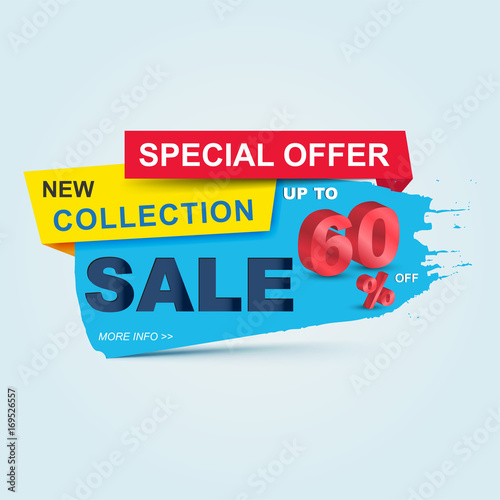 Super Sale poster, banner Big sale, clearance up to 60 off Sale