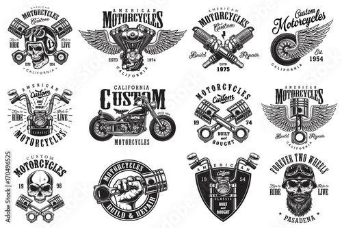 Set of vintage custom motorcycle emblems, labels, badges, logos