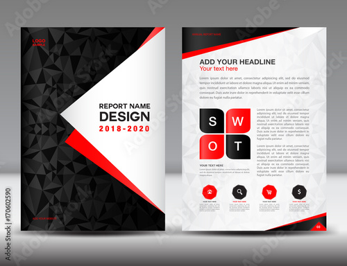 Annual report brochure flyer template, black cover design, business