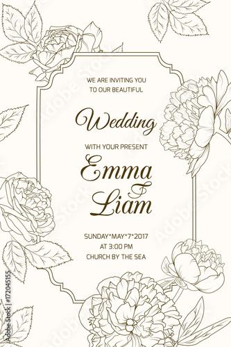 Wedding marriage event RSVP invitation card template Border frame