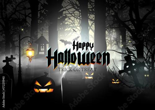 Happy Halloween Banner Spooky Background\