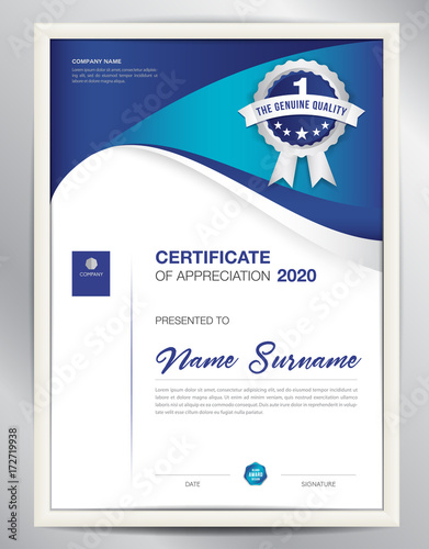 certificate template vector illustration, diploma layout in a4 size
