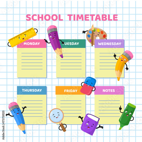 School timetable with funny cartoon stationery characters Children