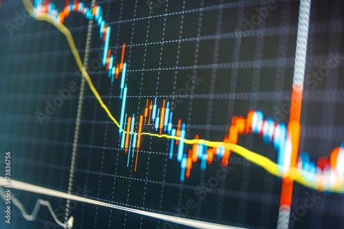 Online forex data Blue background with stock chart Tools of