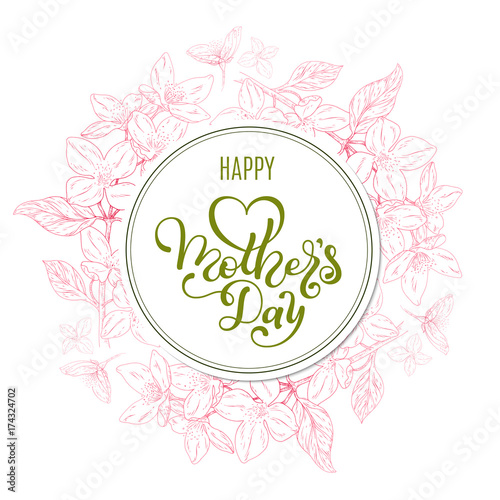 Holiday gift card with hand lettering Mother\u0027s Day and flowers
