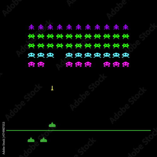 Video game with space, invaders, aliens Retro style computer game - video game template