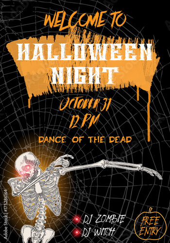 Halloween vertical background with skeletons dancing DAB Flyer or