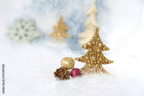 Christmas tree with trees background\