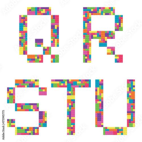 Q, r, s, t, u alphabet letters from children building block icon set
