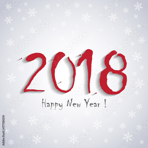 2018 Happy New Year! - greeting card template - white snowflakes