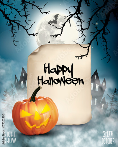 Halloween spooky background with old paper Vector\
