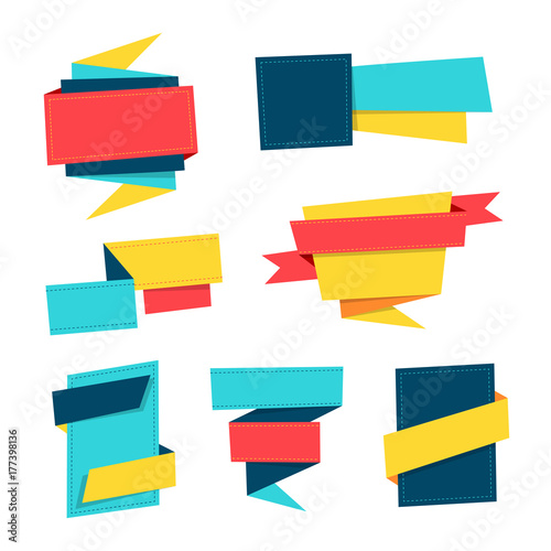 Set of colorful origami paper banner templates Perfect for sales